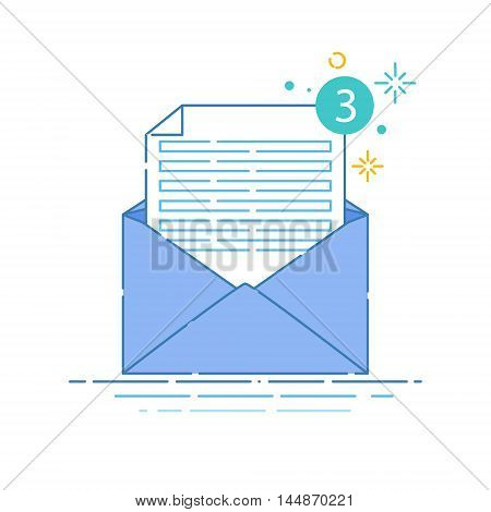 Vector illustration of open envelope with blank white sheet of paper on white background. Correspondence, personal communication, email and spam concept design. Mail icon made in linear style.