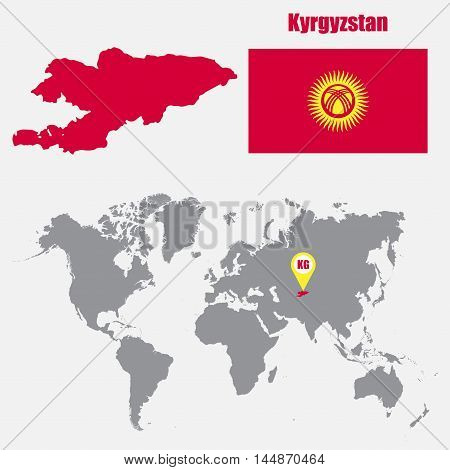 Kyrgyzstan map on a world map with flag and map pointer. Vector illustration