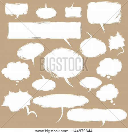 Vector Set Of Grunge Comics  Bubbles. Talk And Think