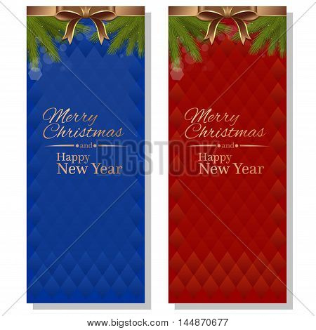 Red and blue abstract vector christmassy backgrounds with ribbons bows and fir branches. Merry Christmas and a Happy New Year.