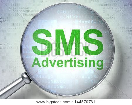 Advertising concept: magnifying optical glass with words SMS Advertising on digital background, 3D rendering
