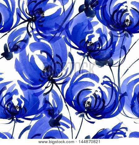 Watercolor and ink illustration of blue chrisanthemium fowers and buds. Oriental traditional painting in style sumi-e gohua. Decorative seamless patterns.