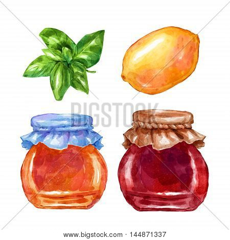 Watercolor sweets jam lemon and mint. Big collection of hand drawn illustrations. Good for book illustration, magazine or journal article.