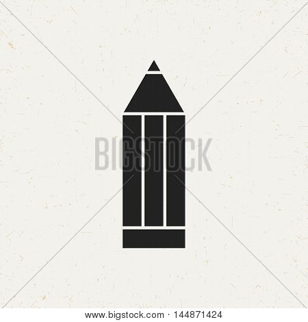 Isolated pencil symbol in vintage style. Flat vector icon for web sites and apps.