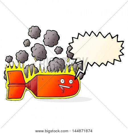cartoon falling bomb with speech bubble