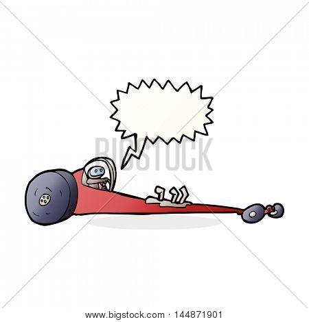 cartoon drag racer with speech bubble