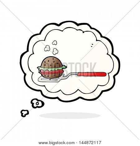 freehand drawn thought bubble cartoon spatula with burger