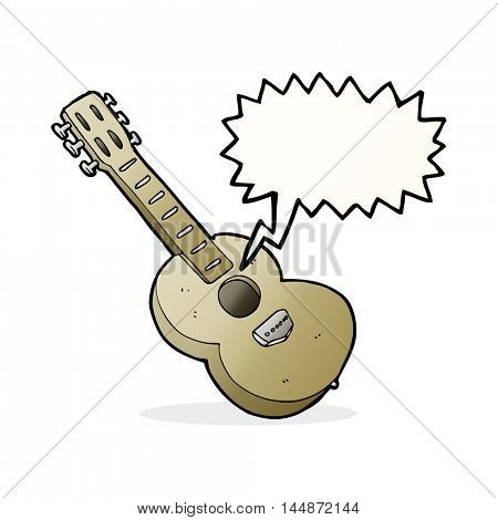 cartoon guitar with thought bubble