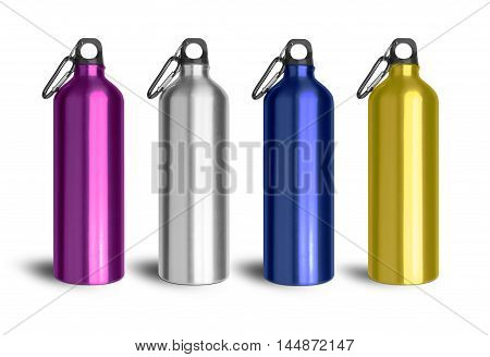 Metallic water bottle with a carabiner attached to the top isolated on white background. With clipping path.
