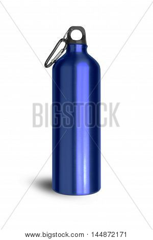 Metallic blue water bottle with a carabiner attached to the top isolated on white background. With clipping path.