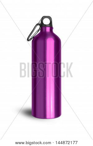 Metallic purple water bottle with a carabiner attached to the top isolated on white background. With clipping path.
