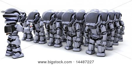 3D render of a Robot shutting down an army of Robots