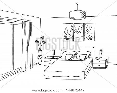Bedroom black white graphic art interior sketch illustration vector