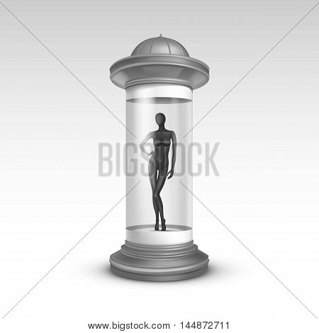 Vector Gray Transparent Poster Stand Pillar for Outdoor Advertising with Black Female Mannequin in it on Isolated White Background