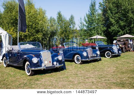 Potsdam Germany - August 27 2016: Retro cars at the open motor Rally Hamburg-Berlin Klassik the date of August 25-27