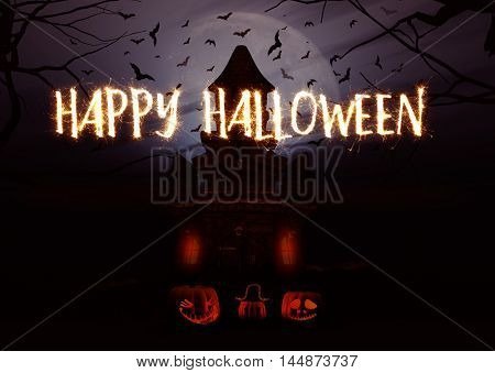 3D render of a Halloween background with pumpkins and spooky castle and sparkler writing