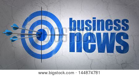 Success news concept: arrows hitting the center of target, Blue Business News on wall background, 3D rendering