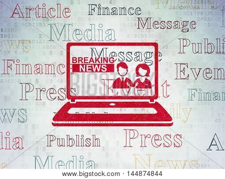 News concept: Painted red Breaking News On Laptop icon on Digital Data Paper background with  Tag Cloud