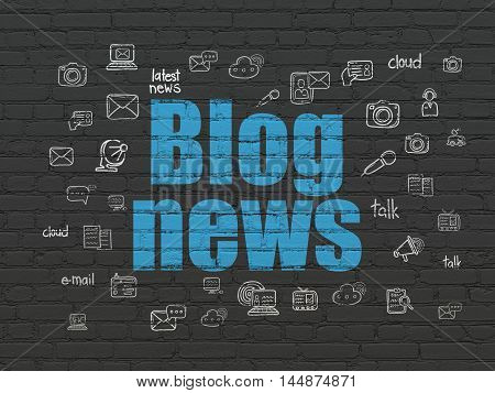 News concept: Painted blue text Blog News on Black Brick wall background with  Hand Drawn News Icons