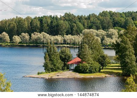 Lappeenranta. Finland. Top view of The Saimaa Lake and pavilion on Halkosaari Island