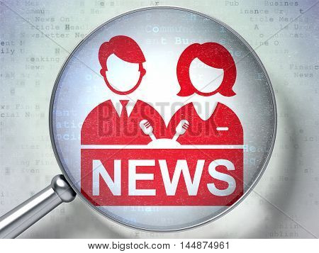 News concept: magnifying optical glass with Anchorman icon on digital background, 3D rendering