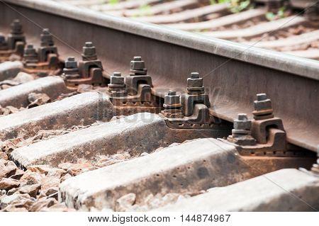 Modern Railway Track Details, Closeup Photo