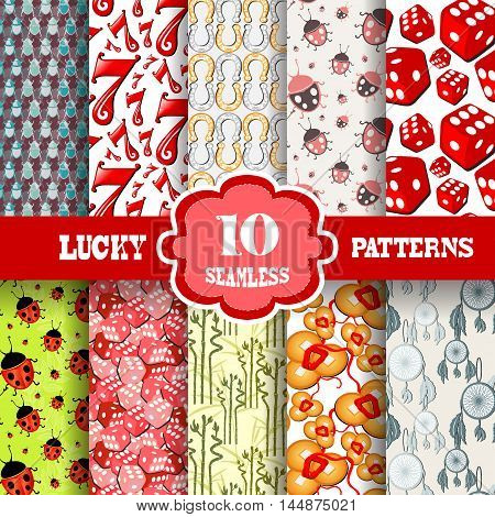 Set of 10 lucky seamless patterns with principal symbols of luck design elements. Lucky patterns for invitations greeting cards scrapbooking print gift wrap manufacturing.