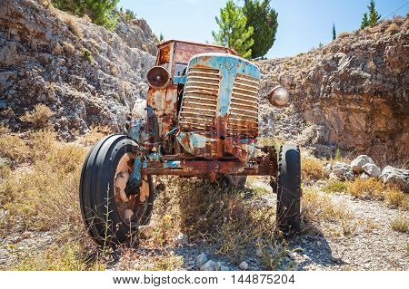 Old Abandoned Rusted Tractor Stands