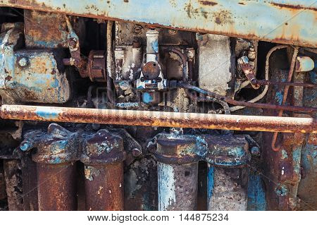 Old Rusted Steel Details, Farm Tractor Engine