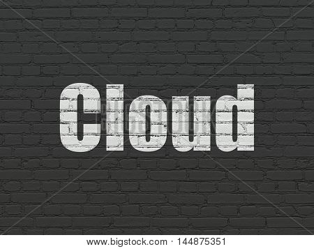 Cloud technology concept: Painted white text Cloud on Black Brick wall background