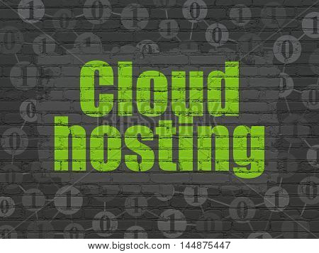 Cloud technology concept: Painted green text Cloud Hosting on Black Brick wall background with Scheme Of Binary Code