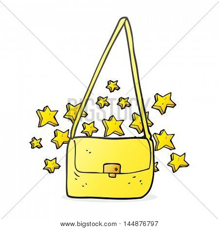 freehand drawn cartoon expensive handbag