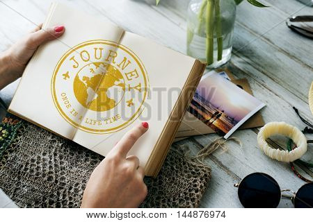 Travel Explore World Journey Stamp Concept