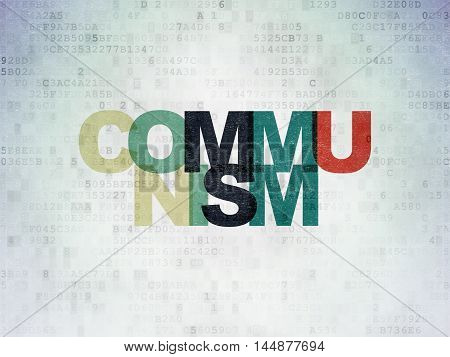 Political concept: Painted multicolor text Communism on Digital Data Paper background