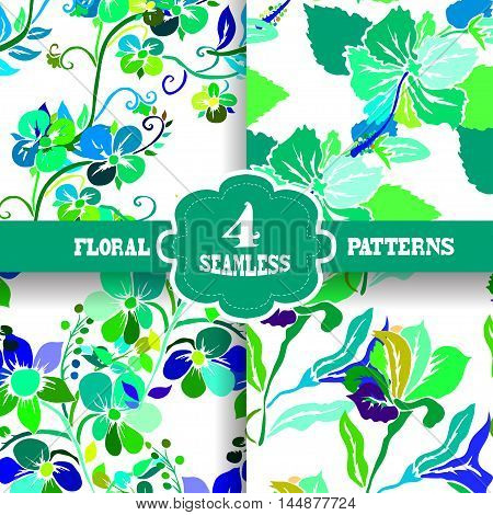 Set of 4 elegant seamless patterns with hand drawn decorative vivid flowers design elements. Floral patterns for wedding invitations greeting cards scrapbooking print gift wrap manufacturing.
