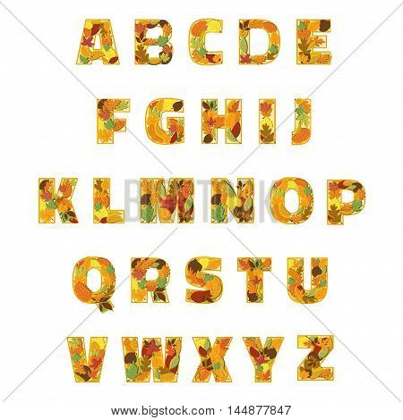 Autumn Leaves font. Vector illustration isolated on white background