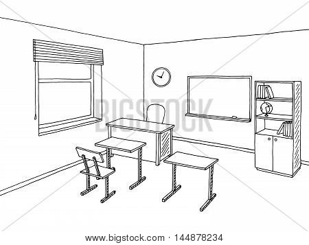 School classroom black white graphic art interior sketch illustration vector