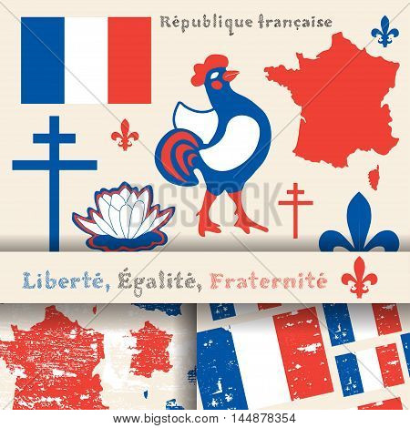 set of principal symbols of French Republic flag map and slogan. 2 seamless patterns with french flag and map