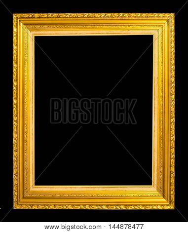 antique gold frame isolated on a black background