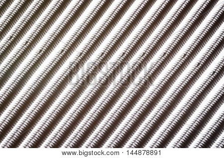 Macro Steel Cables close up on white background