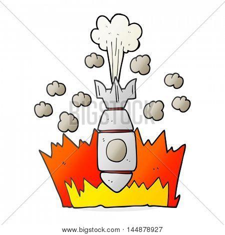 freehand drawn cartoon falling bomb