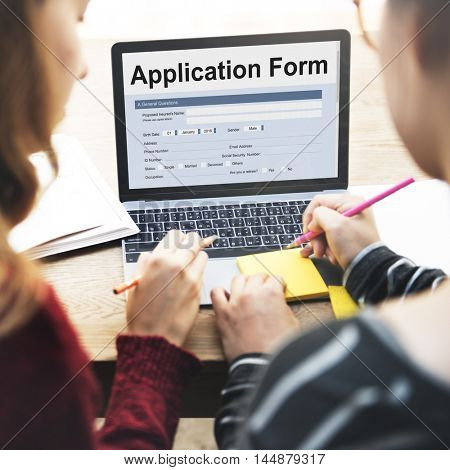 Application Form Information Employment Concept