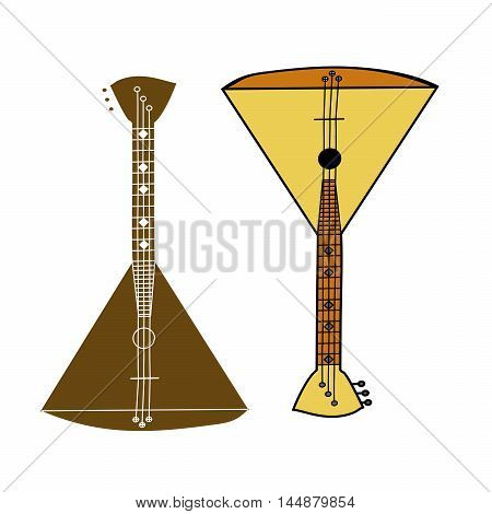 Russian folk musical instrument balalaika.Wooden soundboard,strings for sound,a triangular form for music.Brown,yellow color.Used by musicians, bands,performers,solo.The symbol of the Russian people.