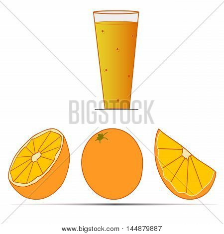 Vector illustration logo for yellow orange.Insulated drawing,consists of a glass of juice, a piece of vitamin,a quarter,half,whole fruit,on a white background.Icon for bar,cafe,market,restaurants,arts