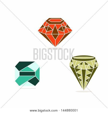 Vector illustration of logo for the theme of the precious stone.Isolated drawing consists of a shiny mineral ruby emerald sapphire,diamond on a white background.The icon for a gift celebration fun joy