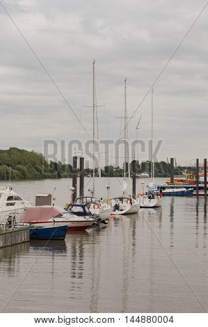 Hamburg, Germany - August 18, 2016: yacht harbor on Hamburg, August 18, 2016, in the Germany Hamburg