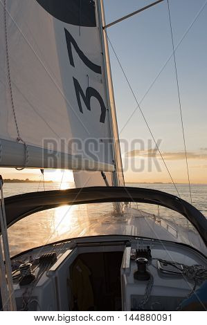 Hamburg, Germany - August 18, 2016: Sailing yacht in the trip on the North Sea on August 18, 2016, in the Germany Hamburg
