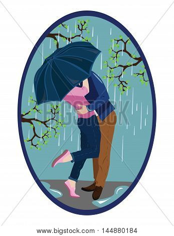 Romantic couple kissing in the rain Vector illustration