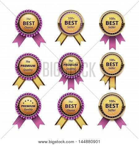 Vector Set of Top Quality Guarantee Golden labels with Pink Ribbons Close up Isolated on White Background