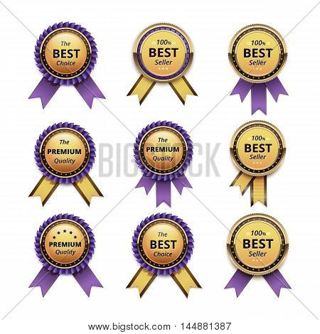 Vector Set of Top Quality Guarantee Golden labels with Violet Lilac Ribbons Close up Isolated on White Background